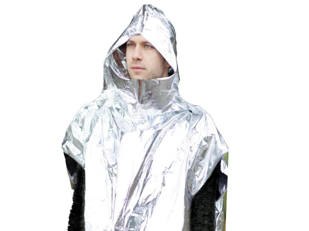 Coghlans Survival Poncho Regenschutz Schutzponcho Wärmeverlust reflektierend Alu